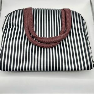 Striped insulated medium size lunch bag